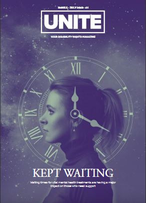 Unite magazine cover showing a woman in profile with a clock face overlay and the words kept waiting