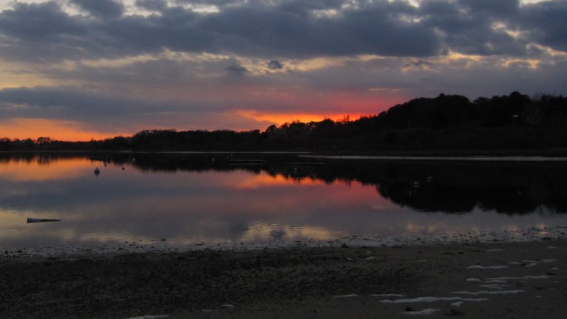 sunset over mill pond