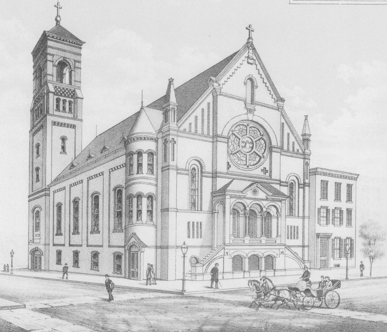 sketch of 1881 St. Leo's church
