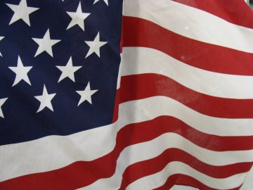Close-up partial picture of the USA Flag
