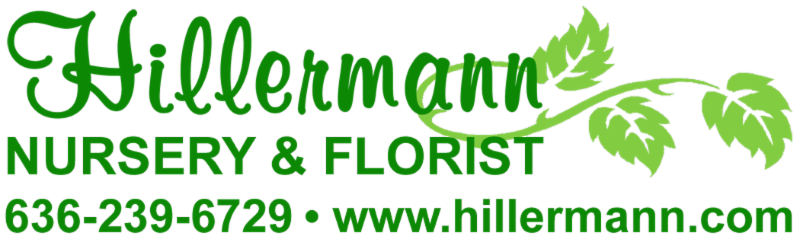 Hillermann Nursery and Florist logo with phone number and web address