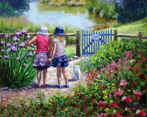 Art of two girls in a garden