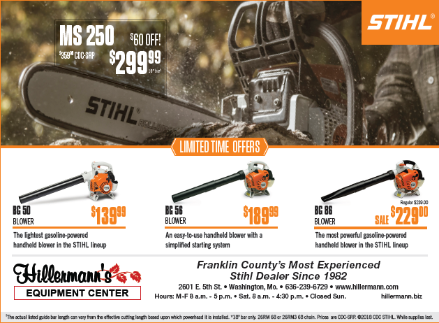 Hillermann Equipment - STIHL ad for the 10-10-18 issue of the Washington Missourian