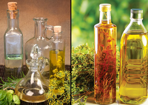 Flavored oil and vinegar with herbs
