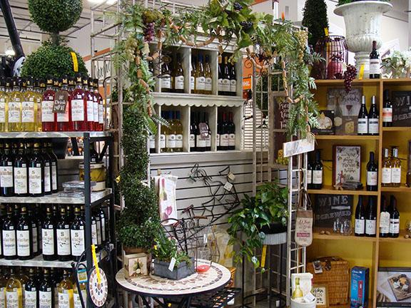 Wine and wine accessories display at Hillermann Nursery and Florist