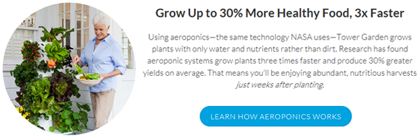 Tower Garden Aeroponics picture and text