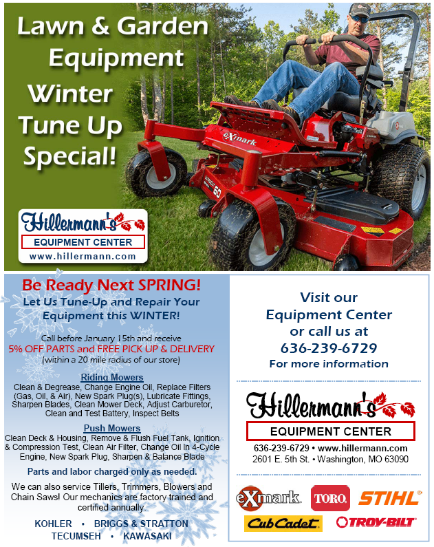 Hillermann Equipment Center - Lawn and Garden Equipment Winter Tune Up Special Flyer - Call 636-239-6729 for details