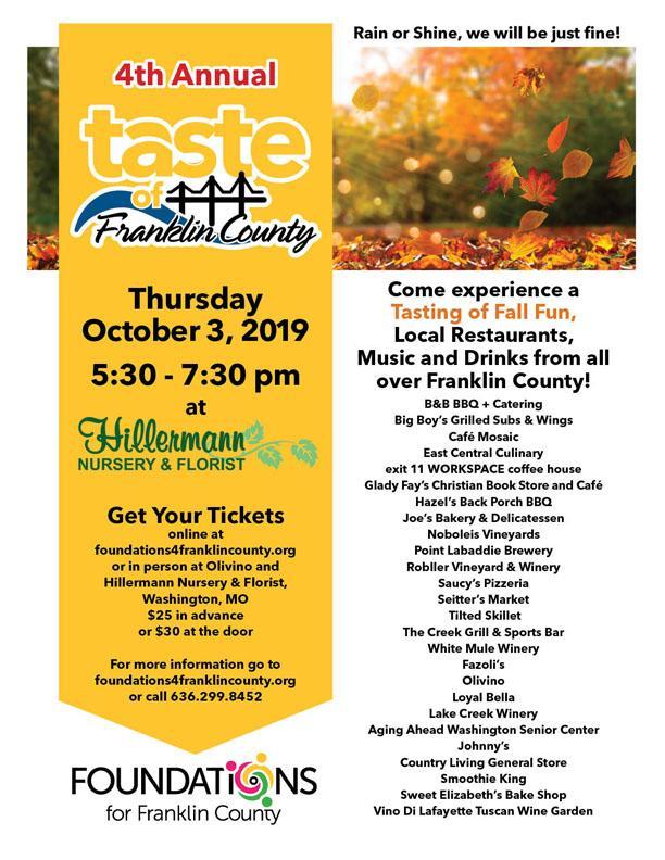 Taste of Franklin County - 10-3-19 event flyer