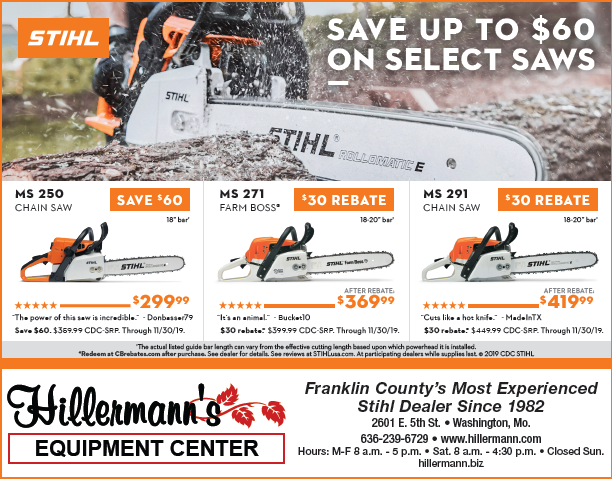 The Hillermann STIHL ad to run in the 10-9-19 issue of the Missourian. hillermann.biz
