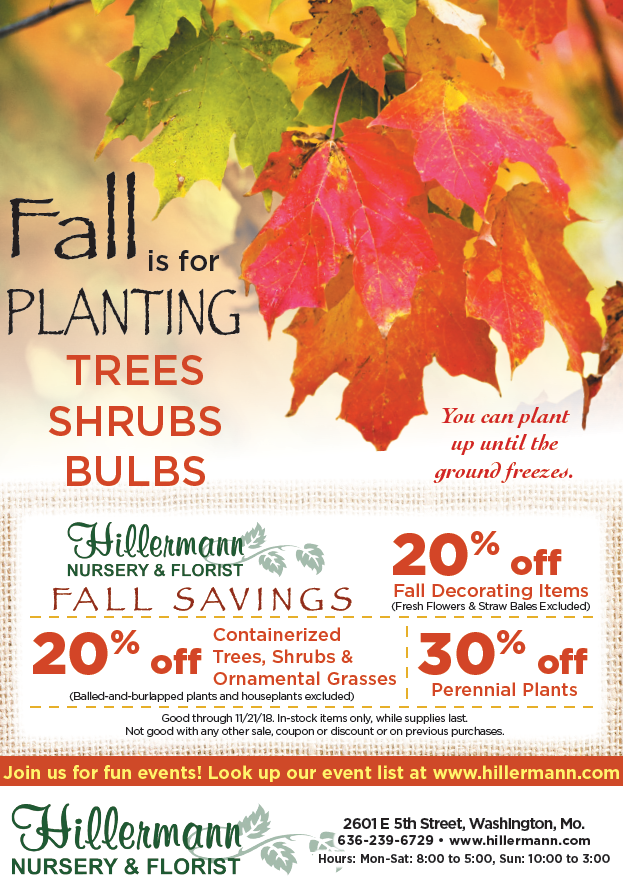 The Hillermann Nursery and Florist ad in the 11-7-18 issue of the Washington Missourian