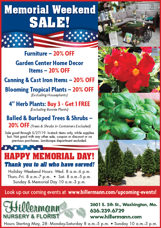 The Hillermann newspaper ad for 5-22-19 with Memorial Weekend Sales