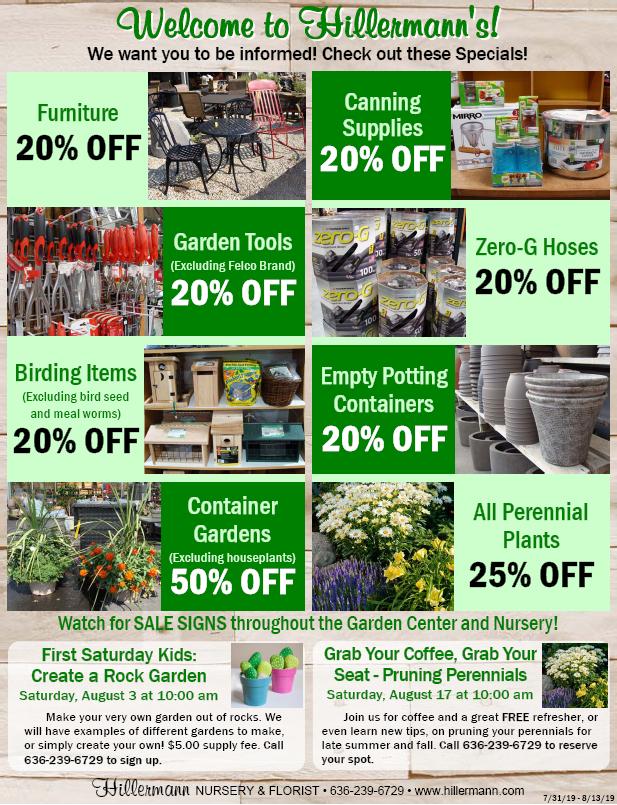 Hillermann Nursery and Florist Sales Sheet for 7-31-19 through 8-13-19