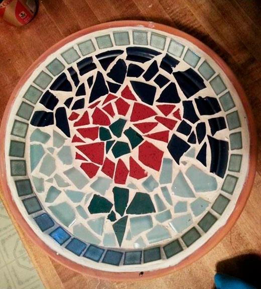 Mosaic birdbath project
