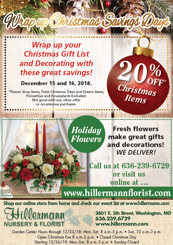 The Hillermann ad in the 12-12-18 issue of the Washington Missourian. Wrap Up Christmas sale on 12-15-18 and 12-16-18.