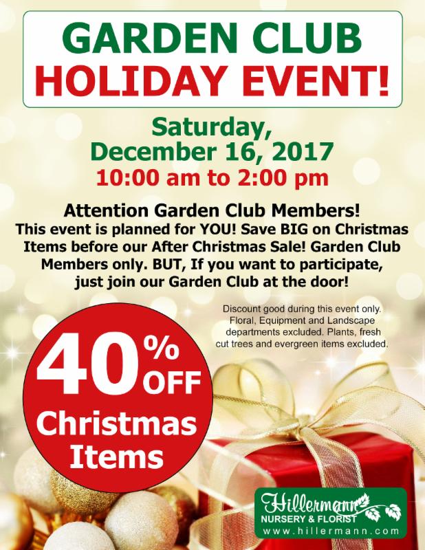 Hillermann's Garden Club Holiday Event flyer