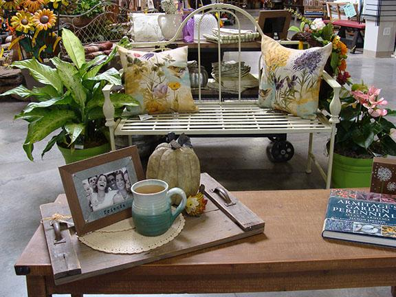 Decor items displayed at Hillermann Nursery and Florist