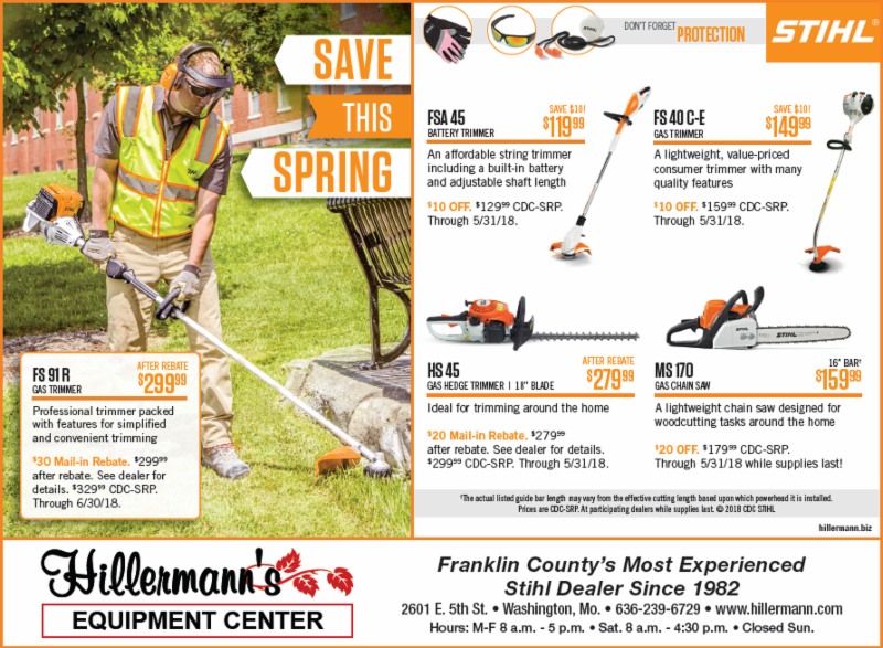 Hillermann Equipment Center - STIHL ad - weed trimmers - hedge trimmers - chain saws and more available.