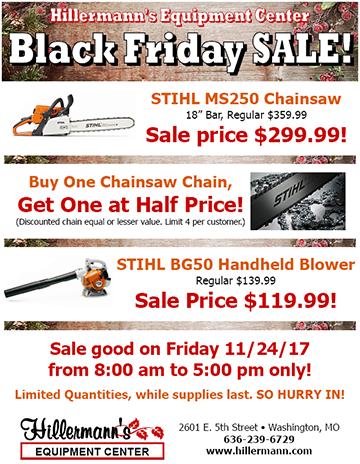 Hillermann Equipment Center Black Friday Specials for 2017