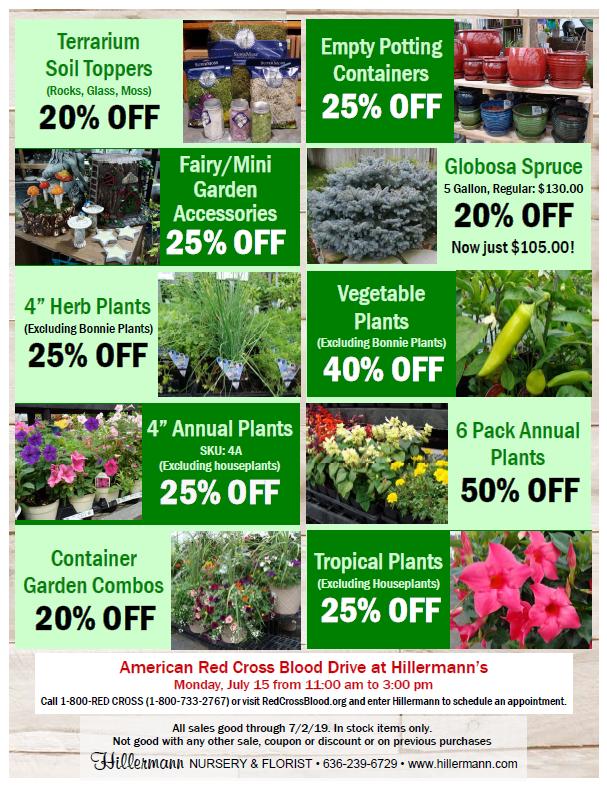 Hillermann Nursery and Florist - Sales Sheet for 6-19-19 thru 7-2-19