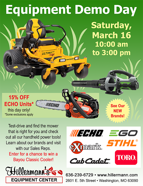 Equipment Demo Day - March 16 of 2019 from 10.00 am to 3.00 pm.