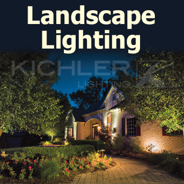 Landscape Lighting article graphic with a picture of a home landscape with Kichler landscape lights