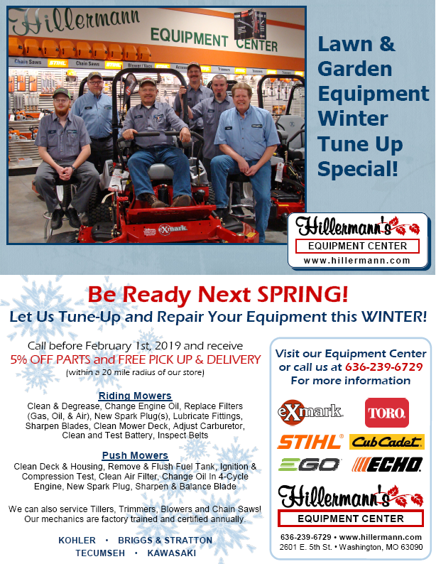 Lawn and Garden Equipment Winter Tune Up Special - Call Hillermann Equipment Center at 636-239-6729 to learn.more