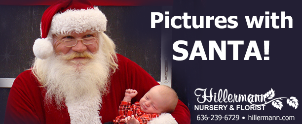 Picture of Santa holding a baby with text for the heading graphic - Pictures with Santa!
