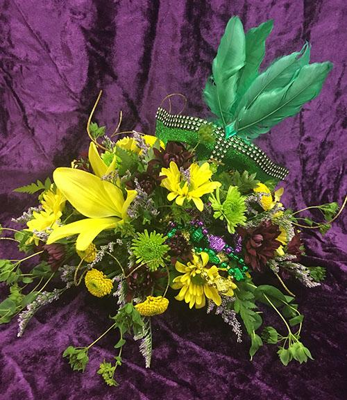 Mardi Gras Floral arrangement for a workshop at Hillermann Nursery and Florist on 2-1-18 at 11 am