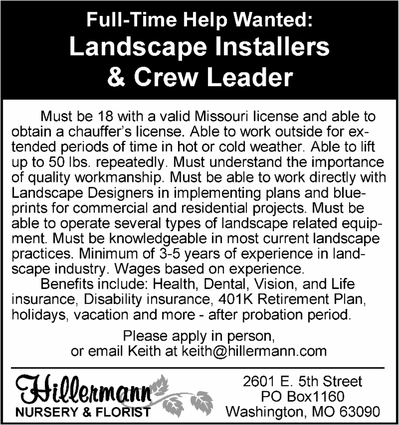 Landscape Installers and Crew Leader Help Wanted ad - Hillermann Nursery and Florist
