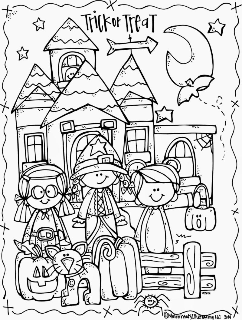 Coloring page for October - Trick or Treaters at a haunted house