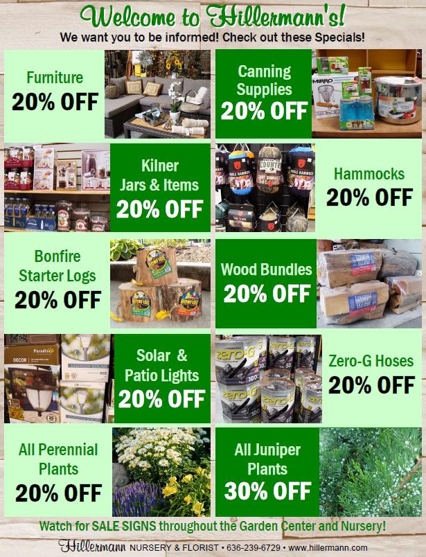 Hillermann Sales Sheet - Good through 7-30-19 at Hillermann Nursery and Florist
