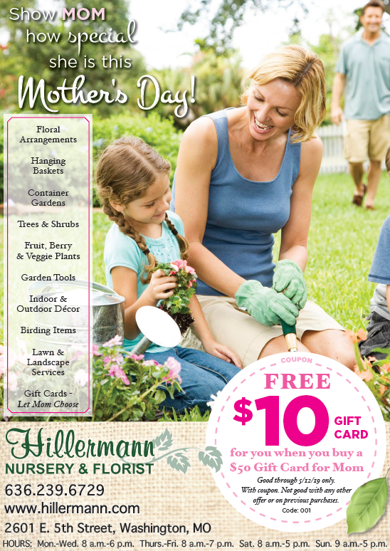 Hillermann Nursery and Florist ad in the Washington Missourian on 5-8-19