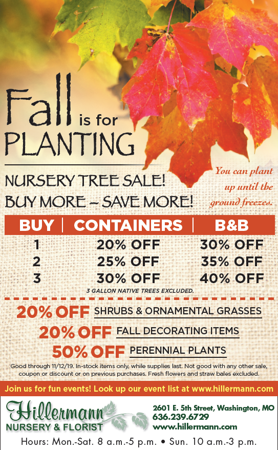 The Hillermann Nursery and Florist at in the 11-6-19 issue of the Washington Missourian