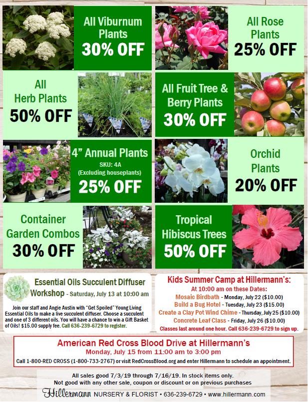 Hillermann Nursery and Florist Sales Sheet - good through 7-16-19