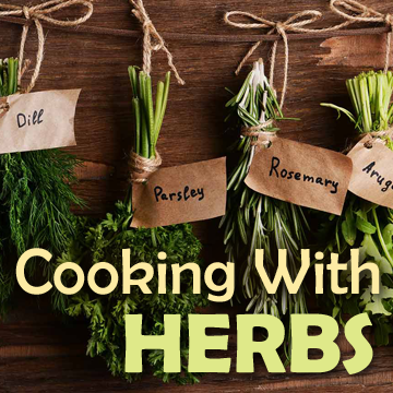 Herbs picture with text - Cooking With Herbs