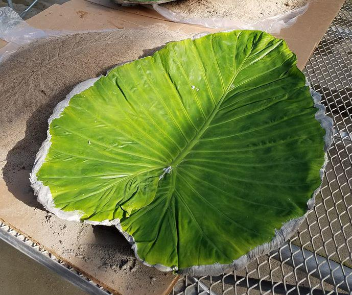 Concrete leaf made at a class held at Hillermann Nursery and Florist
