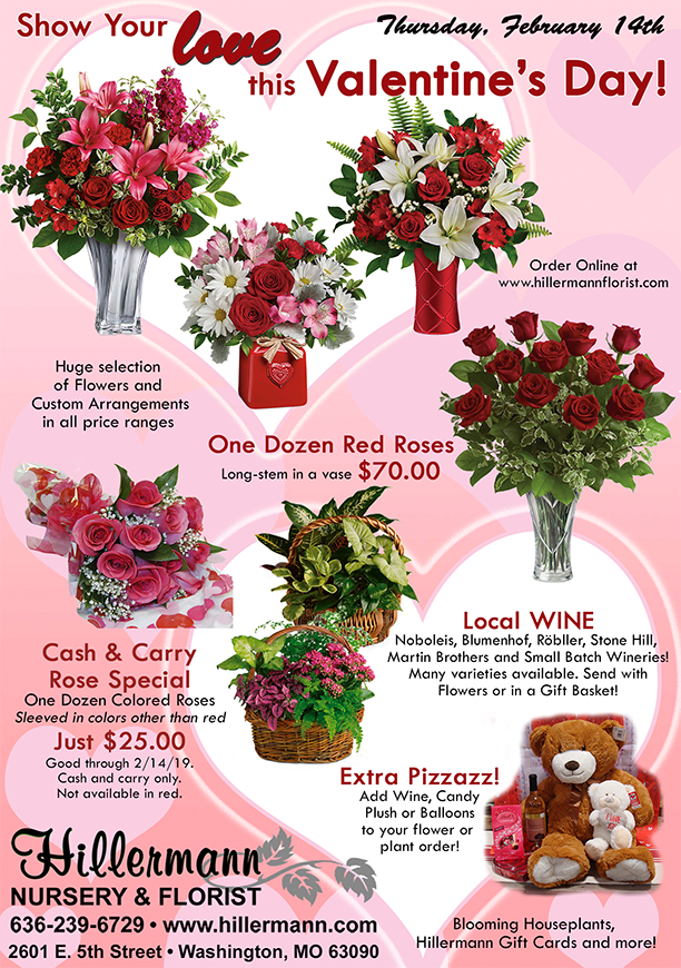 Valentines Day gift ideas from Hillermann Nursery and Florist - call 636-239-6729 or visit www.hillermannflorist.com