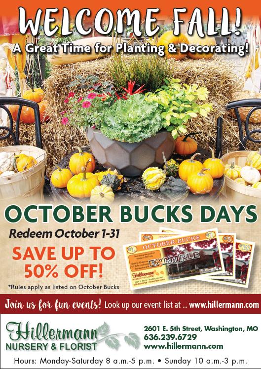 Hillermann Nursery and Florist ad in the Washington Missourian on 10-3-18