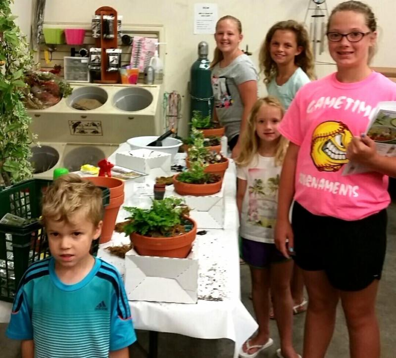 Kids with Mini Garden activity projects