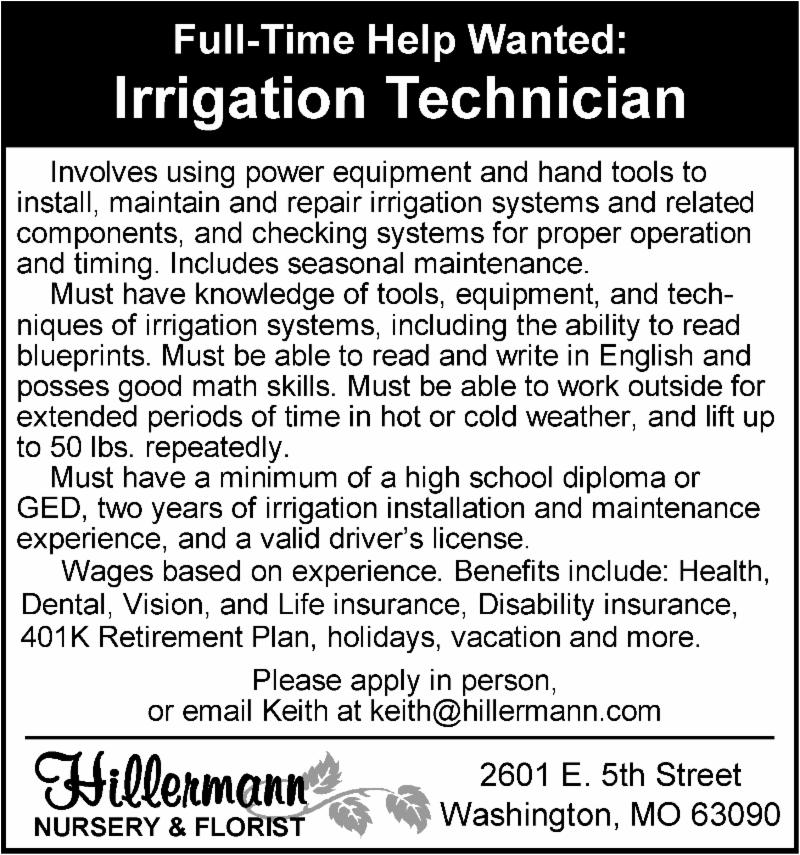 Irrigation Technician help wanted ad - Hillermann Nursery and Florist