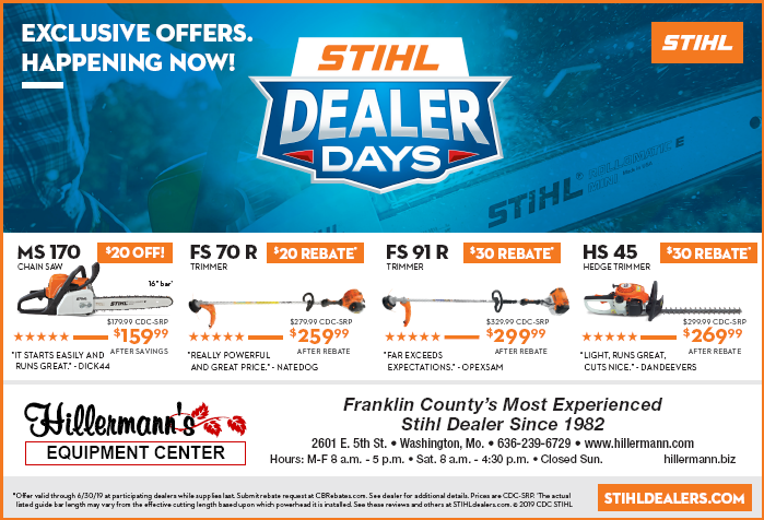 Hillermann Equipment Center newspaper ad for STIHL equipment