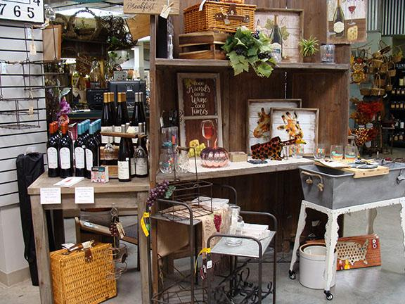 Missouri Wine and decor items displayed in the Garden Center at Hillermann Nursery and Florist