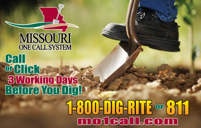 Missouri 1 Call System picture and text - Dial 1-800-DIG-RITE to have utilities marked before you dig