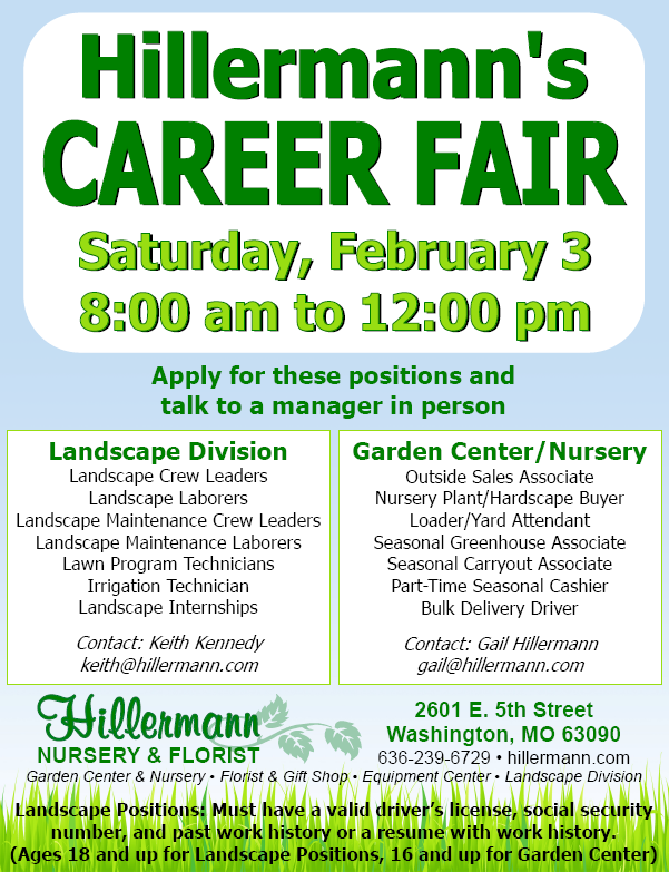 Career Fair at Hillermann Nursery and Florist on Saturday, February 3 from 8 am to 12 pm