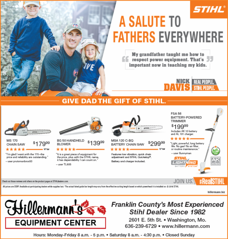 The Hillermann Equipment Center STIHL ad to run in the 6-6-18 issue of the Washington Missourian