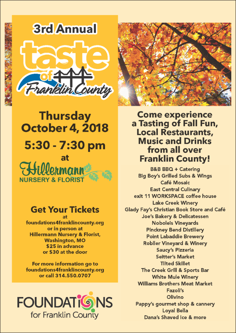 Taste of Franklin County - Benefit event to be held on 10-4-18 5.30 to 7.30 pm
