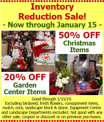 Hillermanns Inventory Reduction SALE - good through 1-15-18