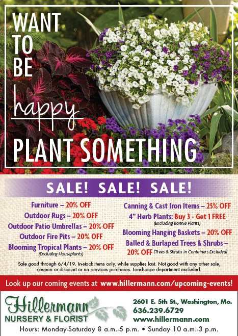 Hillermann Nursery & Florist ad in the 5-29-19 issue of the Missourian