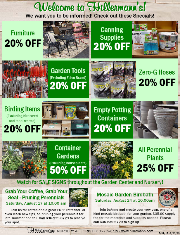 Hillermann Sales Sheet front page - good 7-31-19 to 8-13-19 at Hillermann Nursery and Florist
