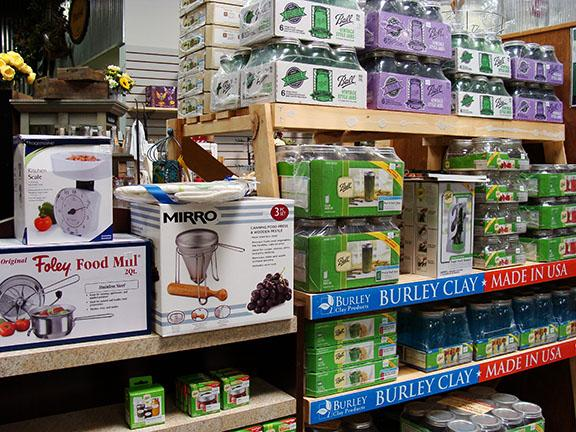 Canning items and jars available at Hillermann Nursery and Florist